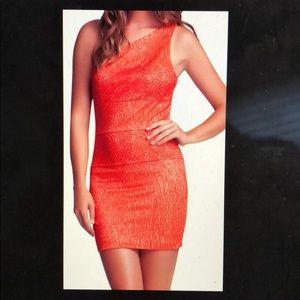 BEBE Red/Orange One Shoulder Lace Cocktail Dress